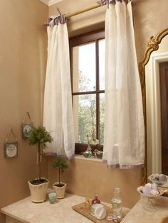 Pair 48 White Linen Curtain Panels With Satin Ribbons