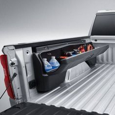 The Silverado Side Mounted Bed Storage Box maximizes the bed functionality with organization and security Organize and secure your valuable cargo with New Trucks, Custom Trucks, Chevy Trucks, Pickup Trucks, Silverado Truck, Lifted Chevy, Silverado 1500, Pick Up, Truck Bed Accessories