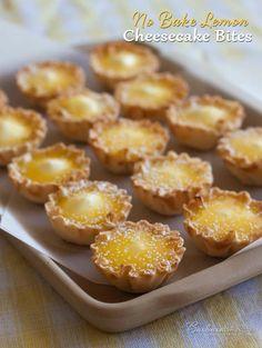 No Bake Lemon Cheesecake Bites Recipe - An easy-to-make, easy-to-eat, bite-size version of a luscious, lemon cheesecake.