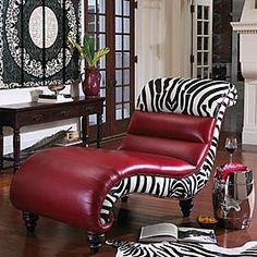 Zebra Chaise - I have no idea where I would put it but I think I could find a place because it is so fun to look at!
