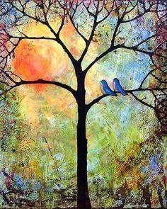 Sunshine Art Print Tree Bluebirds Love Birds by blendastudio