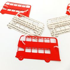 This cute London bus bunting will look great anywhere! Perfect for anyone who loves London, buses and travel. It would be great in a nursery or for a baby shower. The garland has been made from red card and a vintage book whose pages are mellowing bea. London Party, London Bus, Cricut Creations, The Flash, Bunting, Party Time, Nursery, Baby Shower, Diy Crafts