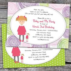 """Baby Doll"" ""Baby and Me"" ""Little Mommy"" Birthday Party Invitations by Paisley Prints Etc."