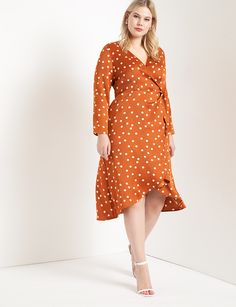 Plus Size Polka Dot Dress | Plus Size Orange Dress | Plus Size Wrap Dress for Work