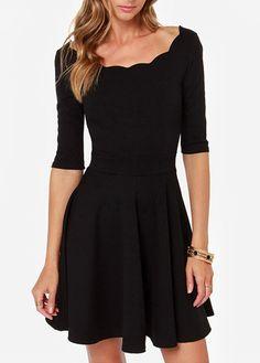 Scallop Neck Black A-Line Dress
