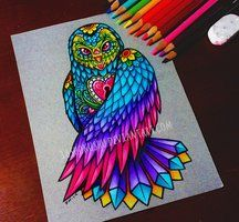 This was a really fun design~ Thanks Madison!* pencils on pastel paper. Pretty Drawings, Cool Art Drawings, Colorful Drawings, Color Pencil Art, Pencil Art Drawings, Owl Drawings, Owl Art, Skull Art, Mandala Art