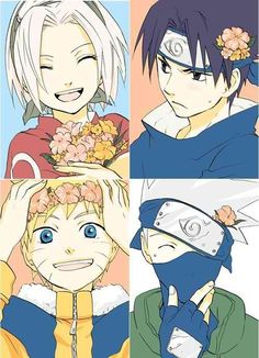Sasuke is displeased, but everyone looks so cute!  Naruto, Sasuke, Sakura, and Kakashi