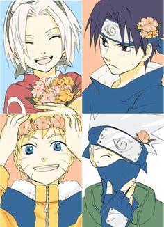 Sasuke is displeased, but everyone looks so cute!  Naruto, Sasuke, Sakura, and Kakashi