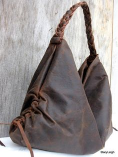 Brown Antiqued Leather Large Hobo Bag By Stacy Leigh Handbags Bags Cute