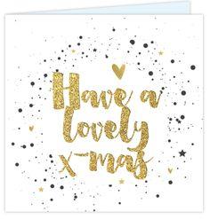 Kerstkaart met stoere handlettering in goud look. Met een cirkel van verf spetters en goed gekleurde hartjes en sterren erin! Zelf aan te passen! Christmas Ideas, Merry Christmas, Happy New Year, Wrapping, Massage, Wraps, Sayings, Quotes, Pattern