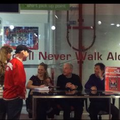 Liverpool FC Heroes official book signing, LFC Store with Evans and Kennedy