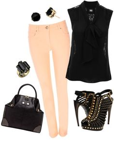 Pink Skinny Jeans, created by nmille50 on Polyvore