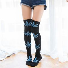 Spend Less $$$ on apparel so you can save money for more grass. The Hottest Cannabis themed apparel, hats, and jewelry around. Gender: WomenItem Type: StockingsModel Number: WZ003Material: Polyester,Spandex,CottonItem Length: high SocksPattern Type: PrintThickness: ThickObscene Picture: NoSexually Suggestive: NoItem Ty Thigh High Socks, Thigh Highs, Weed Socks, Tube Socks, Women's Socks, Ankle Socks, Fashion Socks, Cotton Socks, Socks