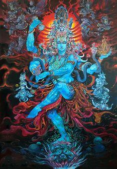 Jai Shiva as Nataraj in creative art painting Shiva Hindu, Shiva Art, Shiva Shakti, Hindu Deities, Hindu Art, Krishna, Indian Gods, Indian Art, Arte Hippy