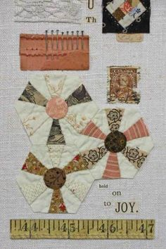 quilt collage - hexie flowers instead of dresden
