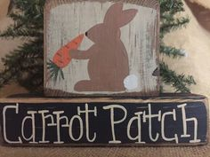 Primitive Country  Rabbit  Carrot Patch Easter 2 pc Shelf Sitter Wood Block Set #PrimtiveCountry