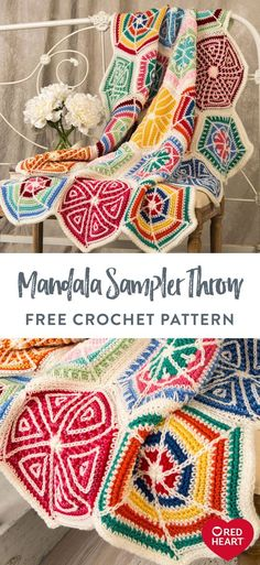 Mandala Sampler Throw free crochet pattern in Red Heart Super Saver yarn. Wow your family and friends by displaying this masterpiece in your home. Crochet Squares, Crochet Blanket Patterns, Crochet Stitches, Knitting Patterns, Crochet Afghans, Crochet Blankets, Free Mandala Crochet Patterns, Hexagon Crochet Pattern, Doilies Crochet