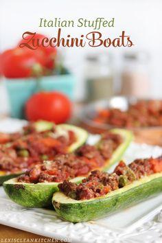 Here's a clean, egg-free, gluten-free, nut-free and paleo-friendly Italian Stuffed Zucchini Boats. Clean Recipes, Beef Recipes, Italian Recipes, Cooking Recipes, Healthy Recipes, Zucchini Boats, Stuffed Zucchini, Vegetable Recipes, Vegetable Dishes