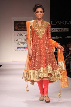 Long Orange & Gold Embellished Chudidar Lakme Fashion Week Winter Festive Designer: Preeti Kapoor, Orange designer anrkali with gold embroidery. Indian Bridal Wear, Pakistani Bridal, Indian Wear, Saris, Pakistani Outfits, Indian Outfits, Ethnic Fashion, Asian Fashion, Indian Style