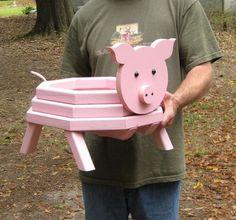 Adorable Pig Planter por LCsWoodtopia en Etsy: