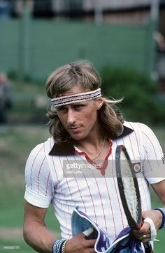 Closeup of Sweden Bjorn Borg on practice court before Men's Final match at All England Club. Neil Leifer