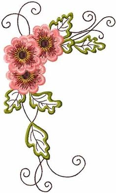 Vintage Flower machine embroidery design