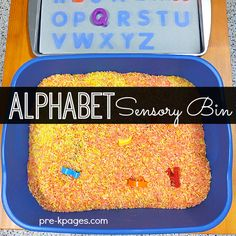 Alphabet Sensory Play Metal Cookie Sheet Magnetic Letters Sensory bin, tub, or table Dark Construction Paper Laminating Film Filler for your sensory tub, bin, or table. I used colored rice but you could use moon sand, shredded paper, or anything that will cover the letters. This sun-bleached letter matching mat is perfect for helping children learn how to visually discriminate letters.