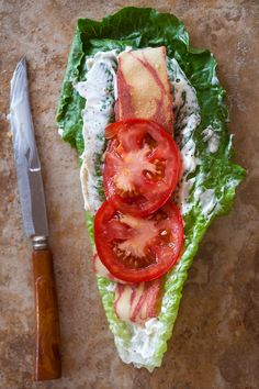 Vegetarian version of my BLT lettuce wrap. still low-carb: photo & recipe by Jackie Alpers for Jackie's Happy Plate. Use nonfat greek yogurt and turkey bacon yummy! Low Carb Vegetarian Recipes, Paleo Recipes, Low Carb Recipes, Cooking Recipes, Vegetarian Bacon, Best Zucchini Casserole Recipe, Chicken Casserole, Casserole Recipes, Wheat Belly Recipes
