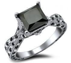 2.54ct Black Princess Cut Pave Diamond Engagement Ring 14k White Gold / Front Jewelers