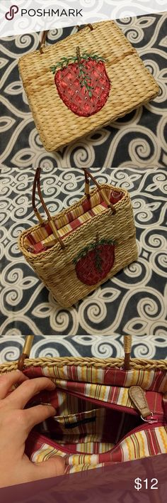 Wicker Basket Purse This strawberry purse is so cute for spring or summer.   Has a beaded and straw strawberry on the front with brown cord handles.   There is even links on the sides to add a longer strap of preferred.  The cloth interior features a zipper and red, white, and yellow stripes. There is also one inside pocket for change or cards and such.   Measure approx 8in tall x 9in long x 3in wide. Sonoma Bags Mini Bags