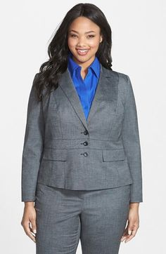 Halogen® Crosshatch Three Button Suiting Jacket (Plus Size) available at #Nordstrom
