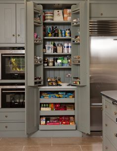 Kitchen pantry cabinet -- shallow shelves on top complemented by shelves on the inside of doors