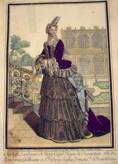"""Engraving, Charlotte Landgrave de Hesse Cassel Reyne de Dannemark by Antoine Trouvaine (published in Paris): late 1600's or 1700's, featured in """"An adorned print: Print culture, female leisure and the dissemination of fashion in France and England, around 1660-1779"""" by Alice Dolan, Victoria and Albert Museum"""