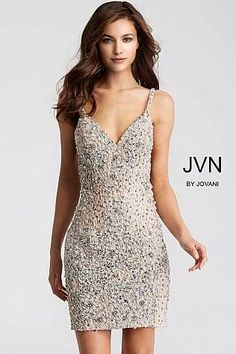 Silver Beaded Form Fitting Sleeveless Short Dress JVN51294 #dressescasualcocktail