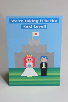cute, simple 8-bit mario-inspired wedding invitation