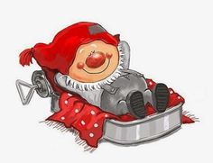 Gnome resting in a sardine-tin bed. Christmas Rock, Swedish Christmas, Christmas Gnome, Vintage Christmas, Christmas Crafts, Christmas Humor, Christmas Clipart, Christmas Printables, Christmas Pictures