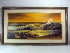 http://stores.ebay.com/mariasantiqueandvintage 1960s Signed Lim Yim Original Korean Oil Canvas Painting Scenic Seascape Asian #Asian