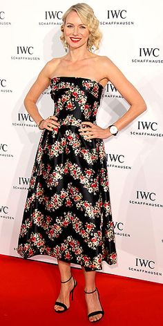 NAOMI WATTS Naomi shows off her feminine side in a floral-print, tea-length Dolce & Gabbana dress and Aurélie Bidermann jewels at the For The Love of Cinema event hosted by IWC.2013 Cannes Film Festival