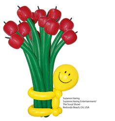 """#Balloon #Twisting This cheery figure makes a fun back-to-school gift for teachers, or use different balloons to customize it for any occasion. Design by Suzanne Haring featured in issue #46 of """"Balloon Magic - The Magazine,"""" a Qualatex publication for balloon twisters. Subscribe and get step-by-step figure instructions, balloon artist spotlight stories, business advice, and more: http://www.qualatex.com/pages/balloon_magic.php"""