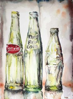 Three of a Kind, 15″ by 11″ watercolor on paper, more from my glass series. I just love vintage glass.