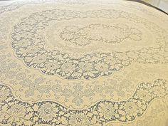Vintage Quaker Lace Tablecloth Ornate Floral Design Creamy Ivory 66x88 Oblong qu #Quaker