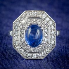 ART DECO SAPPHIRE DIAMOND CLUSTER RING 18CT GOLD 1.50CT SAPPHIRE 1.69CT DIAMOND CIRCA 1930 cover Sapphire Rings, Diamond Cluster Ring, Diamond Clarity, Sapphire Diamond, Gold 1, White Gold, All Gems, Free Ring, Art Deco Design