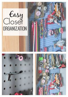 Organize a closet full of hair clips, headbands, belts and more! An inexpensive and kid friendly way to organize the closet! www.thedempsterlogbook.com