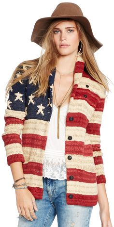 Knit from a soft cotton-and-linen blend, this cool American flag-inspired cardigan is designed with a shawl collar and a stars-and-stripes pattern.