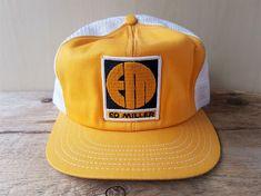 fbb4bd2fea246 Vintage 1980s ED MILLER Heavy Equipment Mesh Trucker Hat Snapback Canada Cap   BaseballCap Heavy Equipment