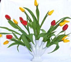 Fine White China Tulipiere Five Finger Fan Flower Vase