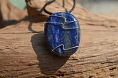 Lapis Lazuli Stone on a Leather Thong Necklace