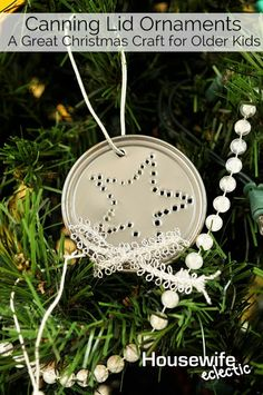 Canning Lid Ornaments (A Great Christmas Craft for Older Kids) This craft is great for scout groups or other small groups who love hands on projects!