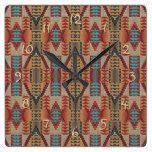 Rustic Native American Indian Cabin Mosaic Pattern Square Wall Clock  #American #cabin #Clock #Indian #Mosaic #Native #Pattern #Rustic #RusticClock #Square #Wall The Rustic Clock