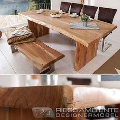 Massiver Baumstamm Tisch MAMMUT 220cm Akazie Massivholz Holzbeine Esstisch  Holz